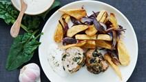 Farsbrød med spinat og grøntsager