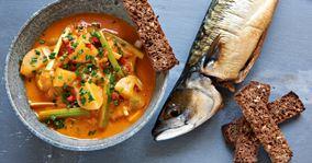 Mild tomatsuppe med røget makrel
