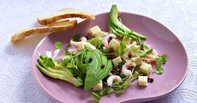 Salat med rejer og avocado