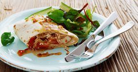 Tortilla med kylling og krydret hytteost