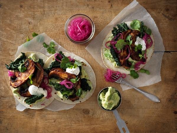 Tacos med chilistegte svampe
