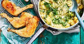 Kyllingelår i ovn med cremede grønkålskartofler