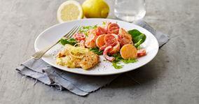 Citronmarinerede skinkeschnitzler og kartoffelsalat