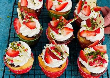 Små nemme jordbærtærter