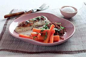 Gratinerede skrubbefileter med ovnstegte gulerødder og quinoa