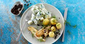 Fiskefileter med sprøde kapers og lun agurkesauce