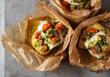 Fiskpaket med smörig torsk och musslor