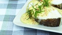 Ovndampet torsk med sennepssauce
