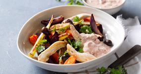 Bagte rodfrugter med kylling og oliven