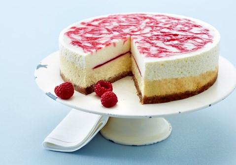 Dobbelt cheesecake med hindbærcoulis