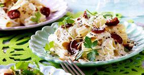 Pasta med blomkålscreme og stegt chorizo