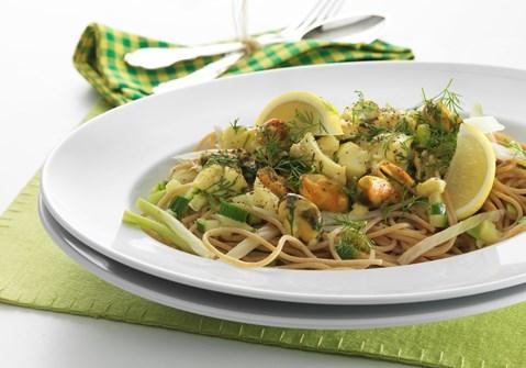 Spaghetti med torsk og muslinger
